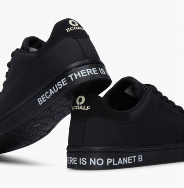Black Ecoalf sneakers with the lettering Because there is no Planet B