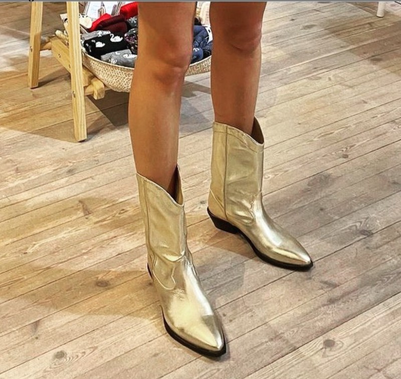 vegan golden cowboy boots