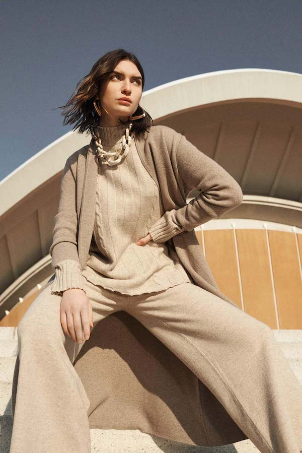 Noble goat ladies outfit made of organic cashmere wool and sustainable cashmere