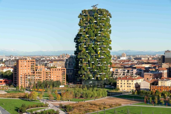 Bosco Verticale cityscape from the side