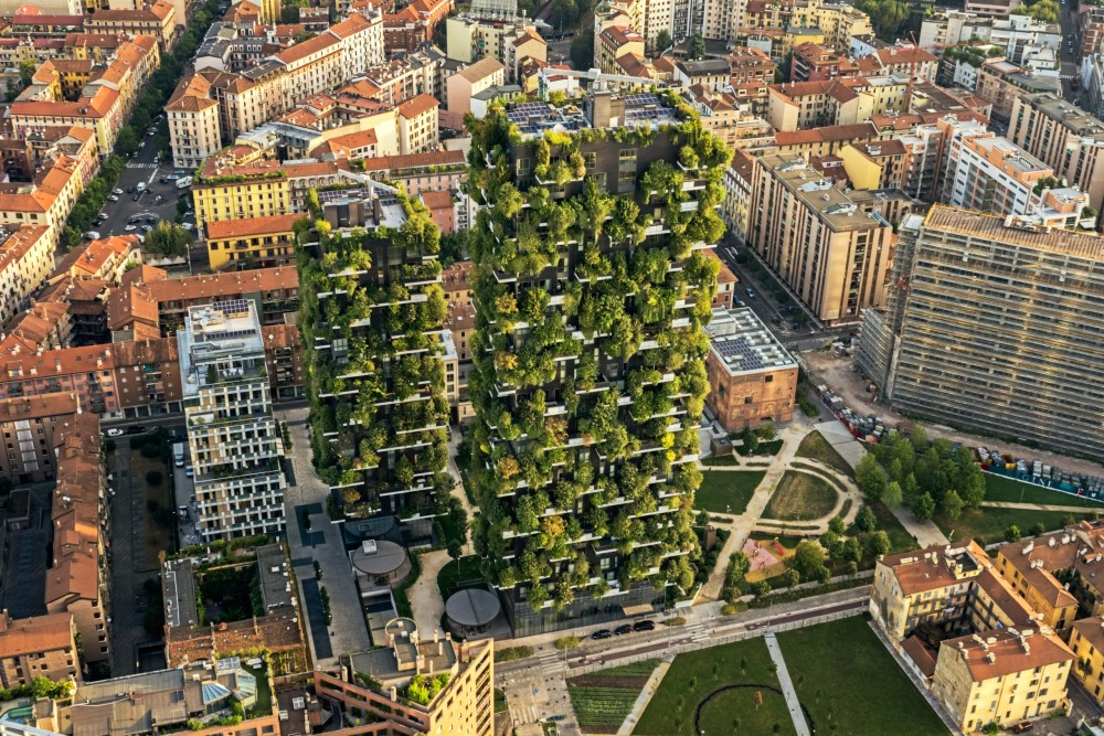 Bosco Verticale high-rise buildings from a bird's eye view