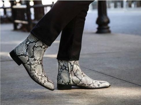 Aera boots in animal print vegan shoes for men