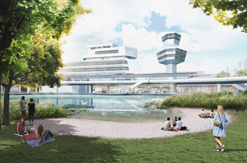 Animation Berlin Tegel with park and lake
