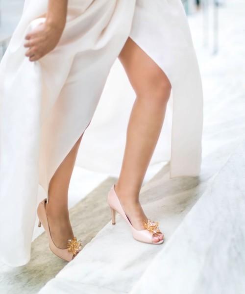 VEERAH beige pumps with brooch vegan shoes for women