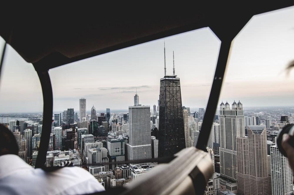 Sicht auf Chicago aus einem Helicopter