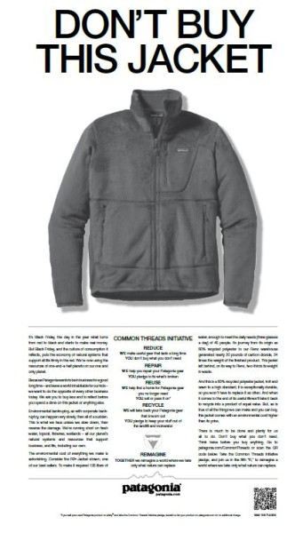 Advertisement from Patagonia with the headline Don't buy this jacket
